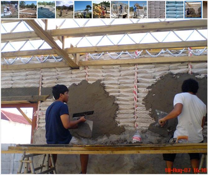 Construcci n ecol gica casas hechas de bolsas de arena for Construir una pileta de material