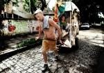 Trabajador en una cooperativa de reciclaje en Brasil