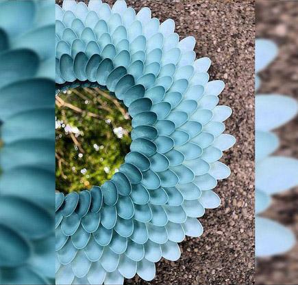 Reutilizando c mo hacer un hermoso espejo con cucharas pl sticas viviendo en la tierra - Espejo de plastico ...